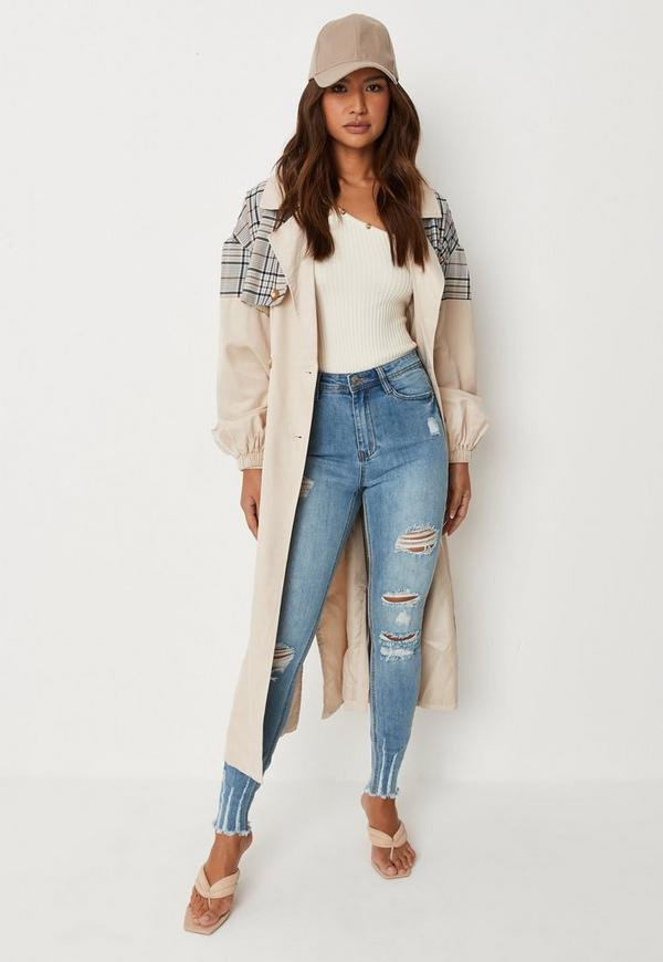 Petite Blue Sinner High Waisted Authentic Ripped Skinny Jeans