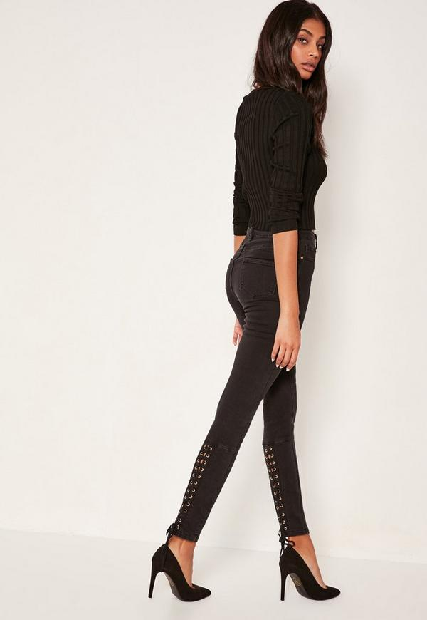 Black Sinner High Waisted Laced Up Skinny Jeans