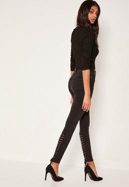 Sinner - Vaqueros pitillo de cintura alta con cordones negros