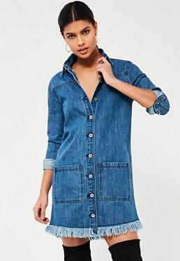 Blue Frayed Hem Denim Shirt Dress