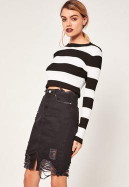 Ripped Hem Denim Midi Skirt Black