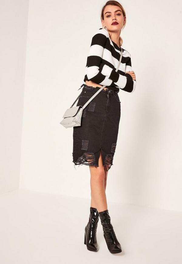 Black Ripped Hem Denim Midi Skirt - Missguided