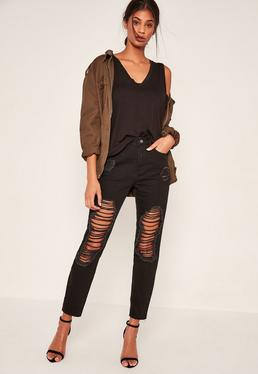 Black Riot Open Leg Ripped Mom Jeans