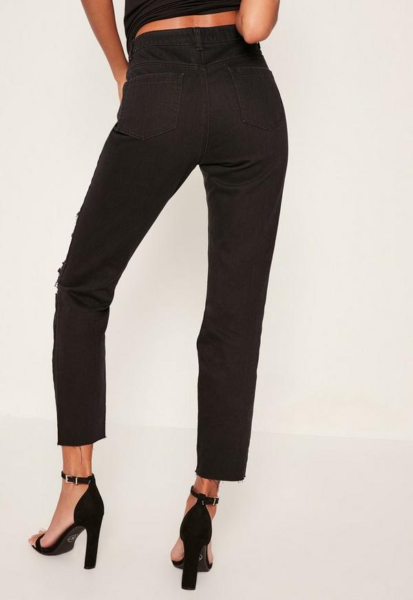 riot zerrissene mom jeans mit offenen oberschenkeln in. Black Bedroom Furniture Sets. Home Design Ideas