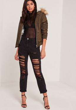 Black Riot High Rise Ripped Mom Jeans