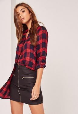 Black Zip Detail Coated Mini Skirt