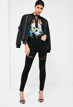 Rebel – High-Waist-Skinny-Jeans mit zerrissenen Oberschenkeln in Schwarz