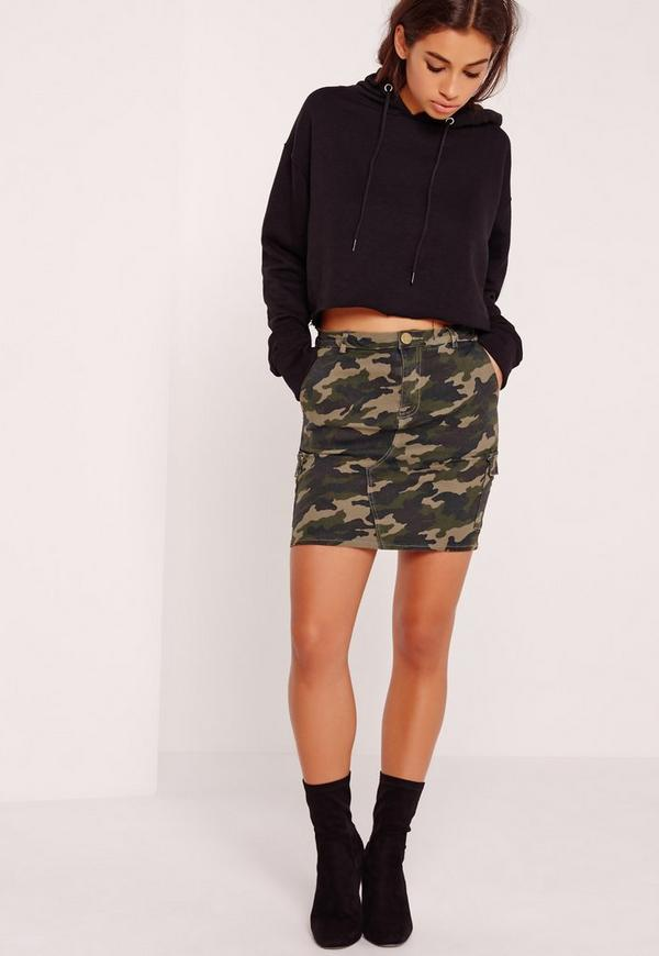Superstretch Camo Denim Skirt