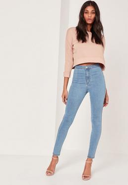 Niebieskie jeansy Vice z wysokim stanem