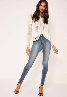 Jean skinny taille haute bleu Vice