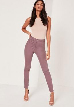 Jean skinny violet à taille haute Vice