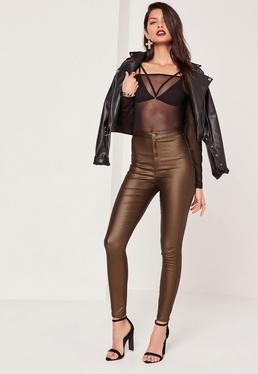 Vice Highwaisted Coated Skinny Jeans Brown