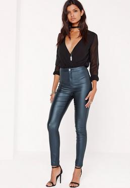 Vice – Beschichtete High-Waist-Skinny-Jeans in Blau
