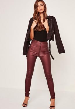 Vice – Beschichtete High-Waist-Skinny-Jeans in Burgunderrot
