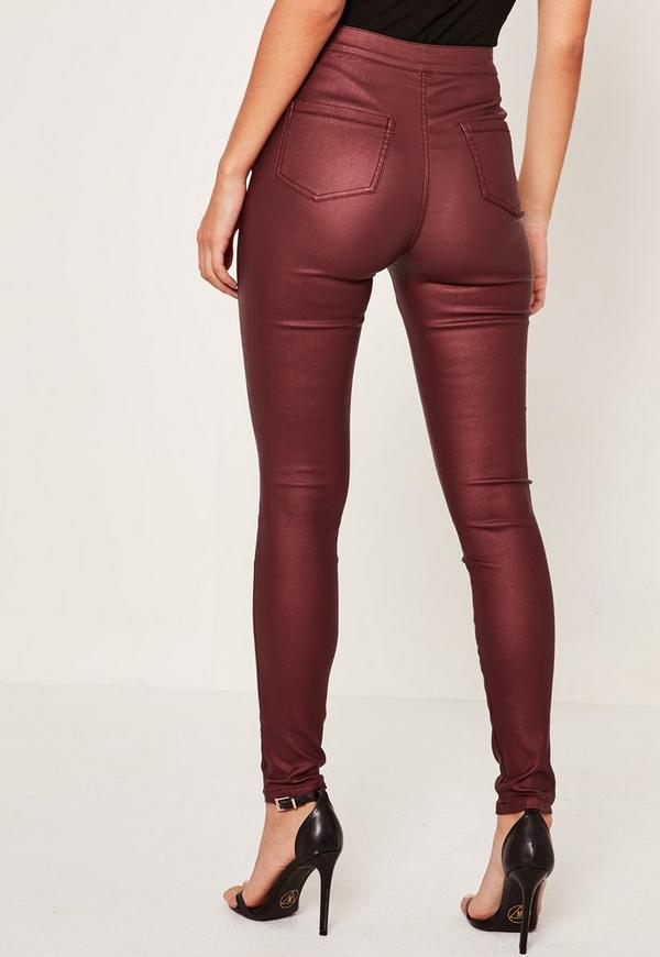 Vice High Waisted Coated Skinny Jeans Burgundy - Missguided
