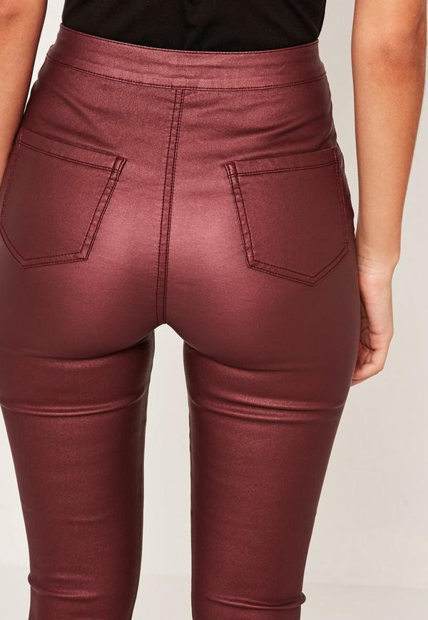 Vice High Waisted Coated Skinny Jeans Burgundy. Previous Next - Vice High Waisted Coated Skinny Jeans Burgundy Missguided