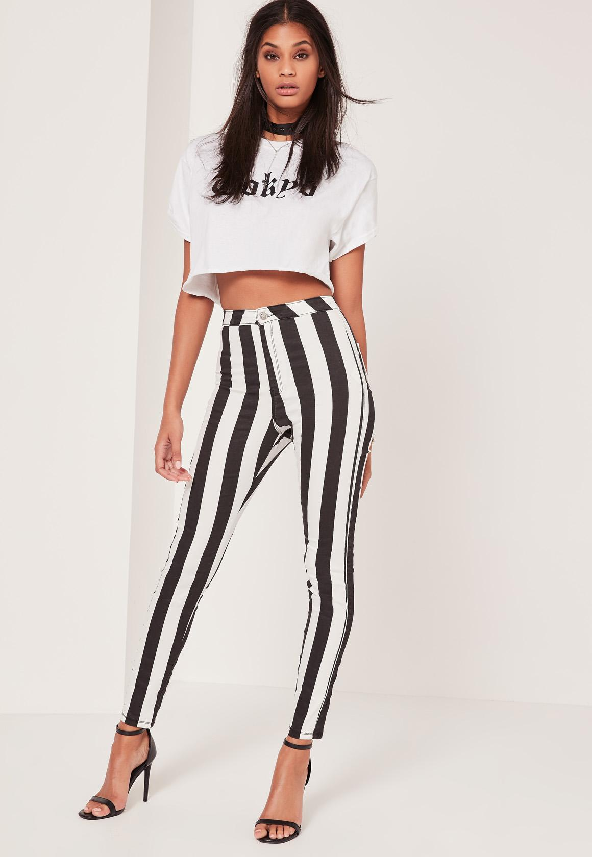 Monochrome Vice High Waisted Striped Skinny Jeans| Missguided