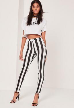 Monochrome Vice High Waisted Striped Skinny Jeans
