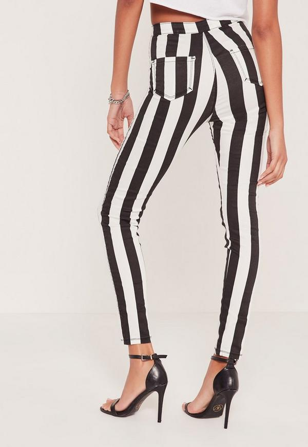 Monochrome Vice High Waisted Striped Skinny Jeans - Missguided