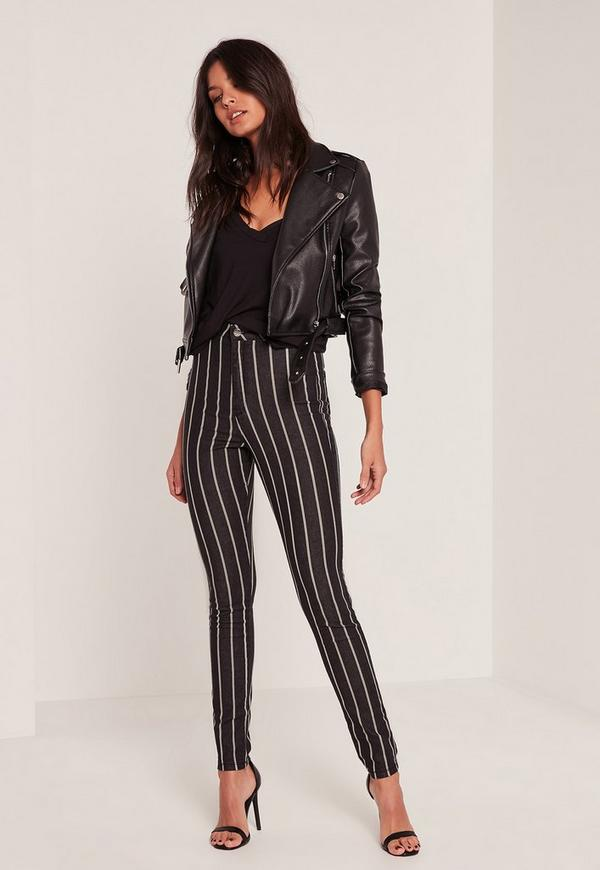 Black Vice High Waisted Stripe Skinny Jeans