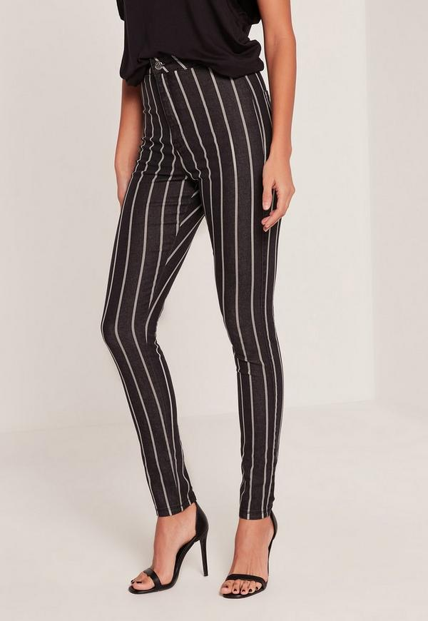 Black Vice High Waisted Stripe Skinny Jeans | Missguided