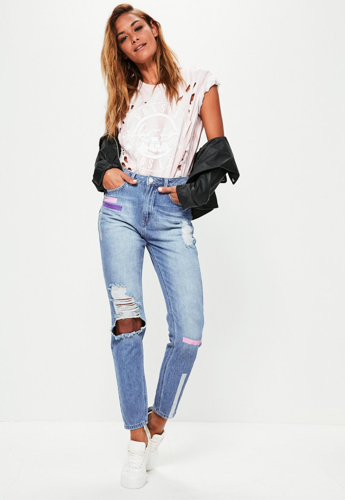 Blue Riot High Waisted Colour Stripe Mom Jeans | Missguided