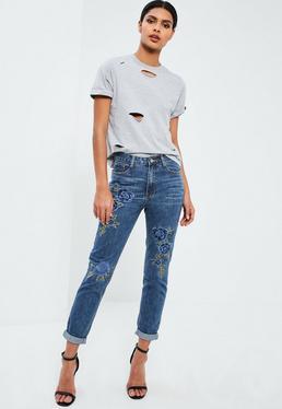Niebieskie spodnie jeansowe Riot z wysokim stanem i kwiecistym haftem