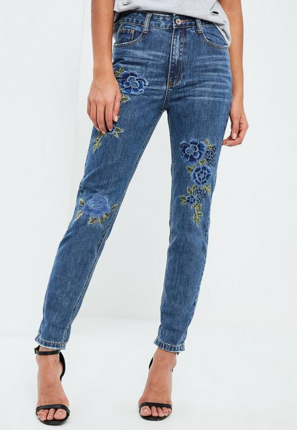 Blue Riot High Rise Floral Embroidered Jeans | Missguided