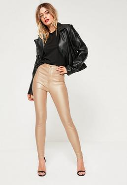 Gold Vice High Waisted Coated Skinny Jeans