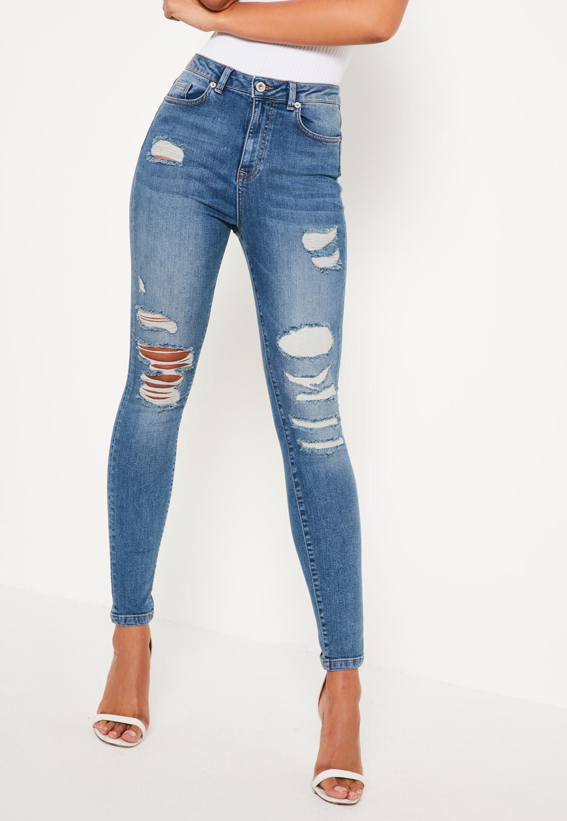 Blue Sinner High Waisted Rip & Repair Jeans
