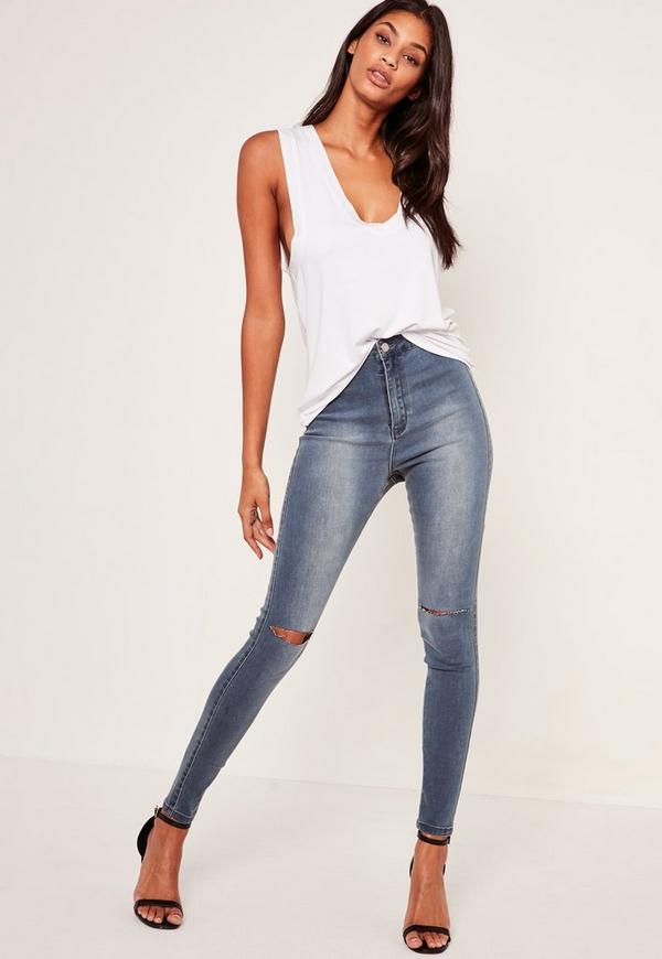 Blue Vice High Waisted Slash Knee Skinny Jeans