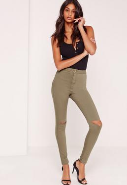 Vice High Waisted Slash Knee Skinny Jeans Khaki