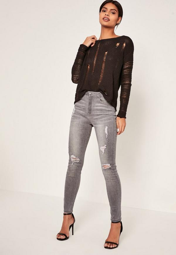 Grey Sinner Highwaisted Authentic Ripped Skinny Jeans