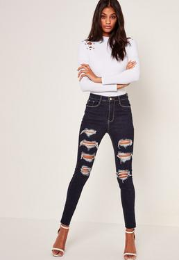 Blue Sinner High Waisted Extreme Ripped Jeans