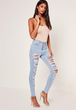 Blue Sinner Multi Authentic Rip Skinny Jeans