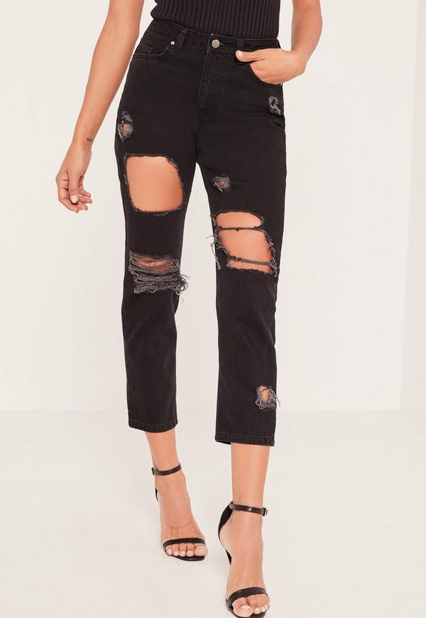 Riot High Waisted Ripped Cropped Skinny Jeans Black | Missguided