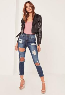 Blue Sinner Highwaisted Rip Cropped Skinny Jeans
