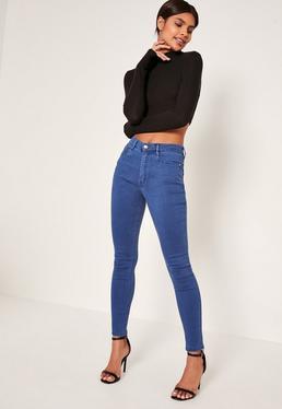 Blue Hustler Mid Rise Skinny Jeans