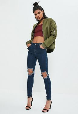 Anarchy – Authentische Skinny-Jeans mit zerrissenem Knie in Blau