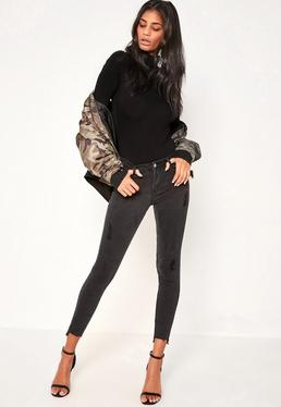 Black Anarchy Stepped Hem Skinny Jeans