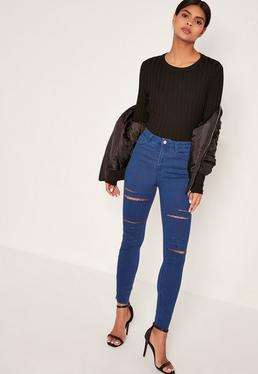 Rebel - High-Waist-Skinny-Jeans mit Rissen an den Oberschenkeln in Blau