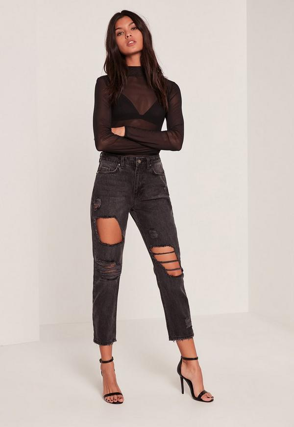 Black Riot High Rise Cropped Distressed Mom Jeans