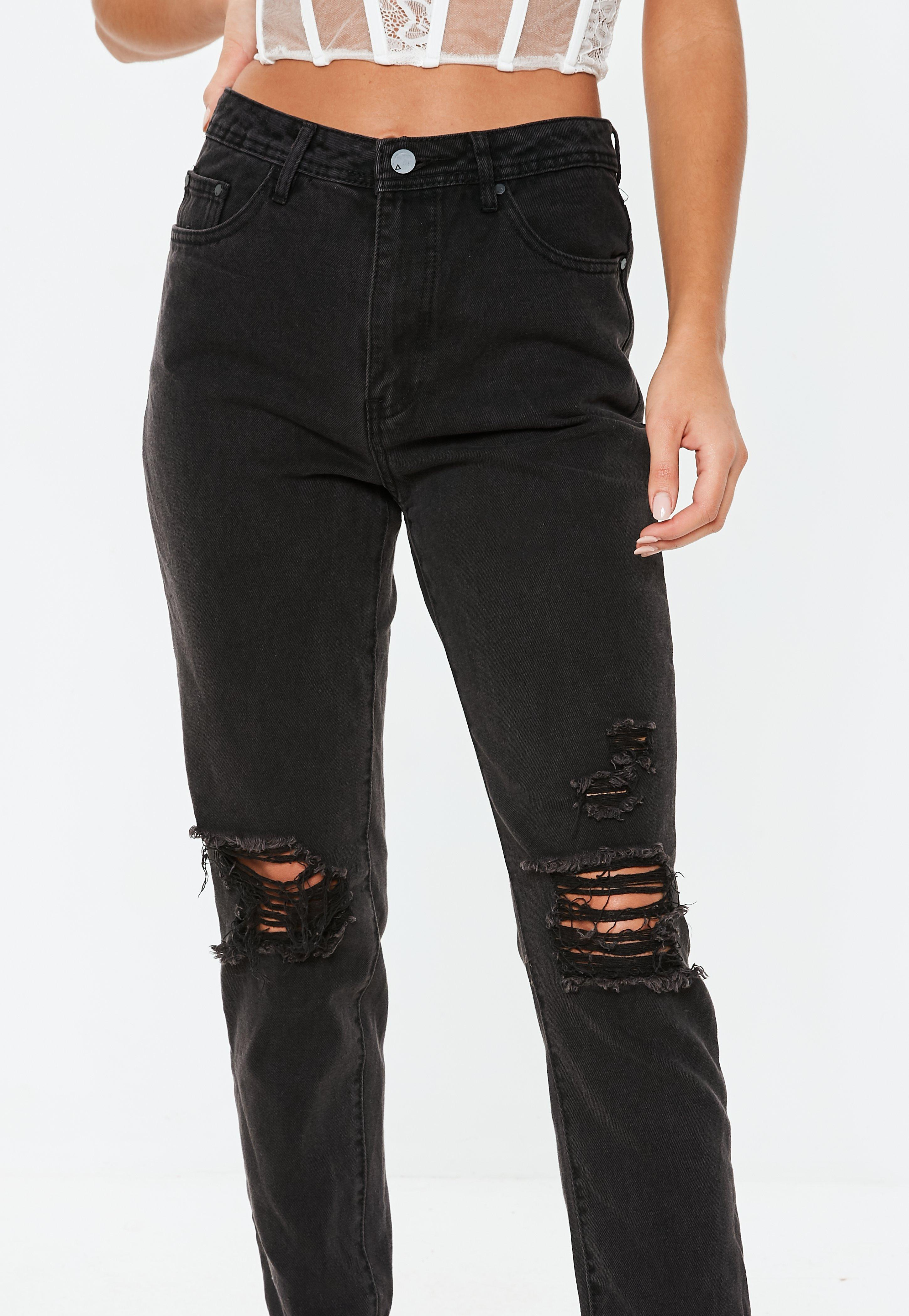 Black Riot High Rise Busted Knee Mom Jeans