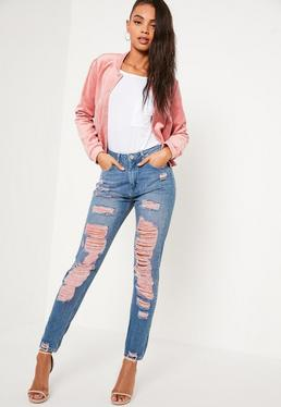 Pink Riot High Rise Extreme Rip Mom Jeans