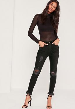 Sinner Highwaisted Frayed Hem Skinny Jeans Black