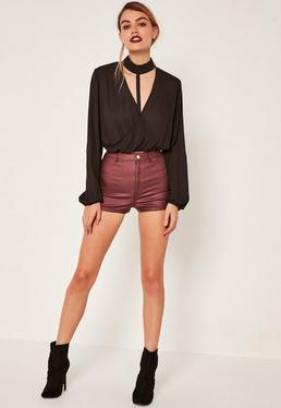 Burgundy Vice Tube Coated Denim Shorts