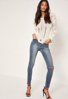 Blue Sinner Highwaisted Double Slash Skinny Jeans