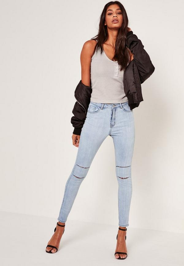 Light Blue Sinner Highwaisted Double Slash Skinny Jeans