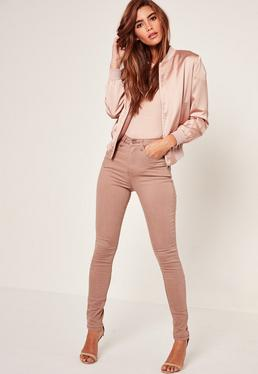 Jean skinny camel taille haute à lacets