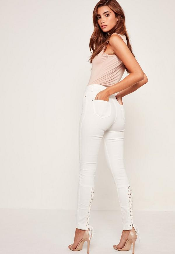 White Sinner Highwaisted Laced Up Skinny Jeans